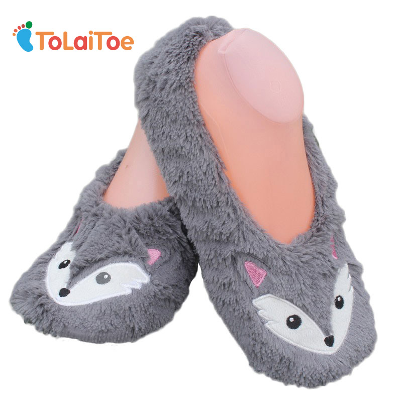 ToLaiToe free shipping Autumn winter animals fox household slippers, soft soles, floor with indoor slippers Plush Home Slippers tolaitoe autumn