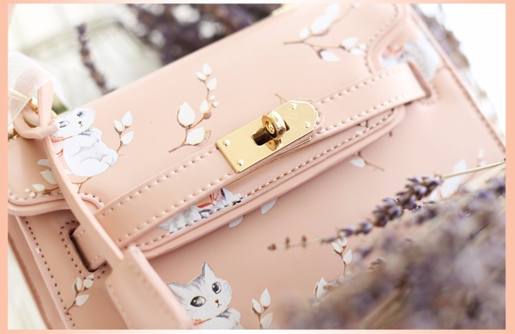 x7 New Sale Bolsas Mujer Small Peekaboo Saddle Faux Leather PU Pink Cat Floral Women\'s Handbags For Lady  Messenger Bags Totes
