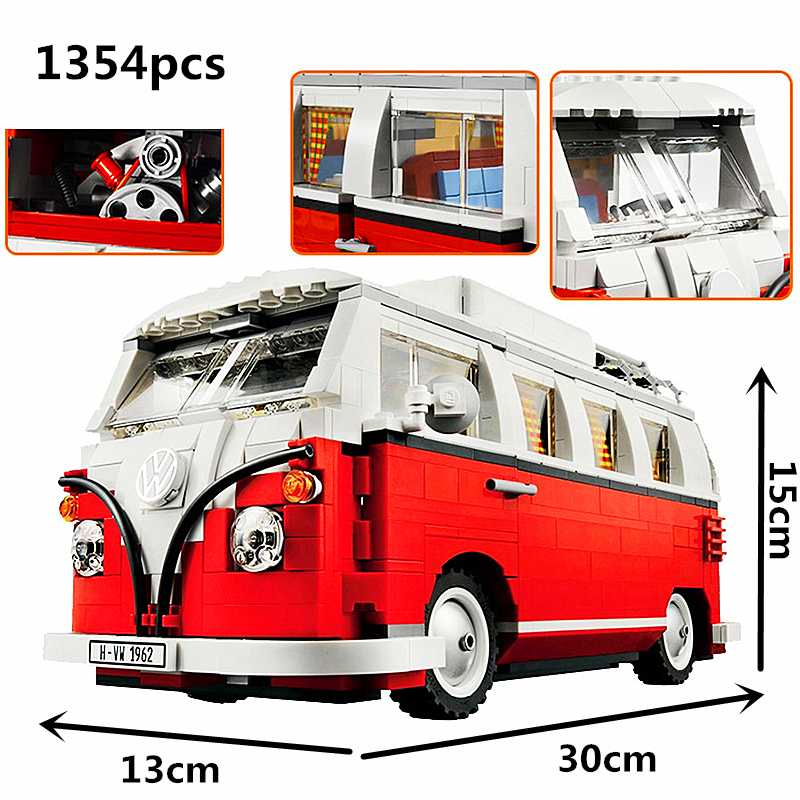 Technic Series 10220 1354pcs Technology Series Volkswagen T1 Camper Car Modeling Building Blocks Toys