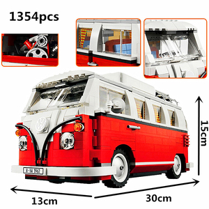 Technic Series 10220 1354pcs technology series Volkswagen T1 camper car modeling building blocks toys(China)