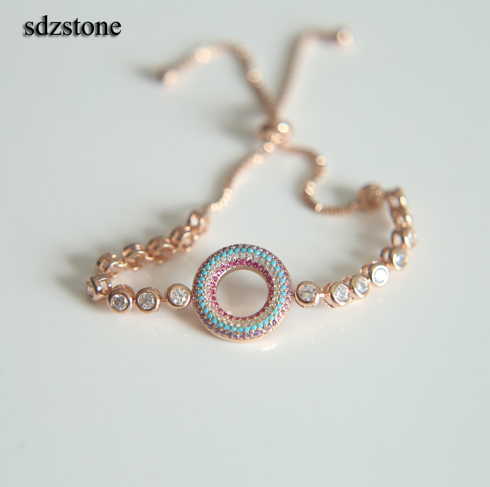 Rose Gold / Silver Color MIX Cubic Zirconia Circle Design Zircon Crystal Adjustable CZ Bracelets for Women bridal