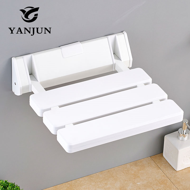 Shower Chairs For Elderly Shower Seat Abs&&aluminum Alloy Wall Mounted Folding Stool Toilet Shower Chair Saving Space Bathroom Home Improvement Wall Mounted Shower Seats