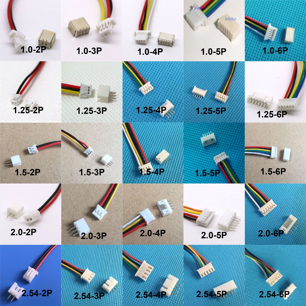10 sets 1.0mm 1.25mm 1.5mm 2.0 2.54mm 2PIN /3/4/5/6/12P Pin Male & Female PCB Connector SH JST ZH PH XH 2 Pin image