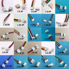 10sets 1.0mm 1.25mm 1.5mm 2.0 2.54mm 2/3/4/5/6 Pin Male Connector Wire & Female Plug SH JST ZH PH XH