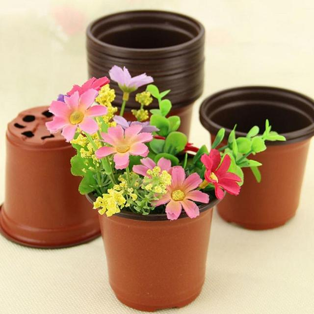 5 pcs/lot double color plastic garden flower pot 9cm mini flowerpot