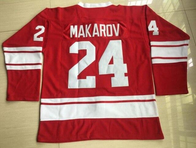 Sergei Makarov Jersey 24 CCCP RUSSIA Red Ice Hockey Jersey Stitched Movie Hockey Jersey Size S-3XL All stitched