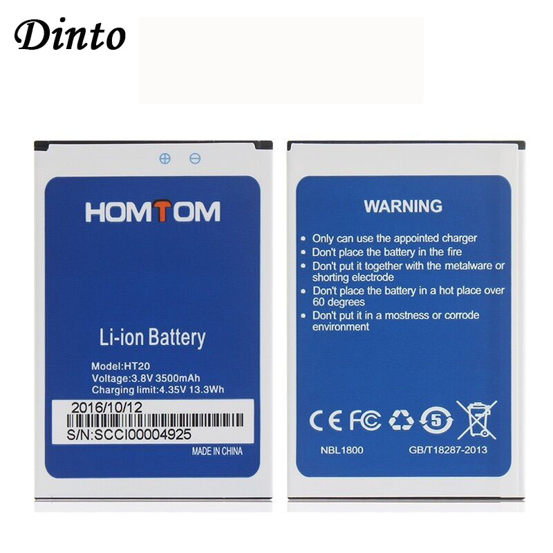 Dinto 1PC 100% New 3500mAh High Capacity HOMTOM HT20 Battery Replacement Backup Batteries for HOMTOM HT20 Pro(China)