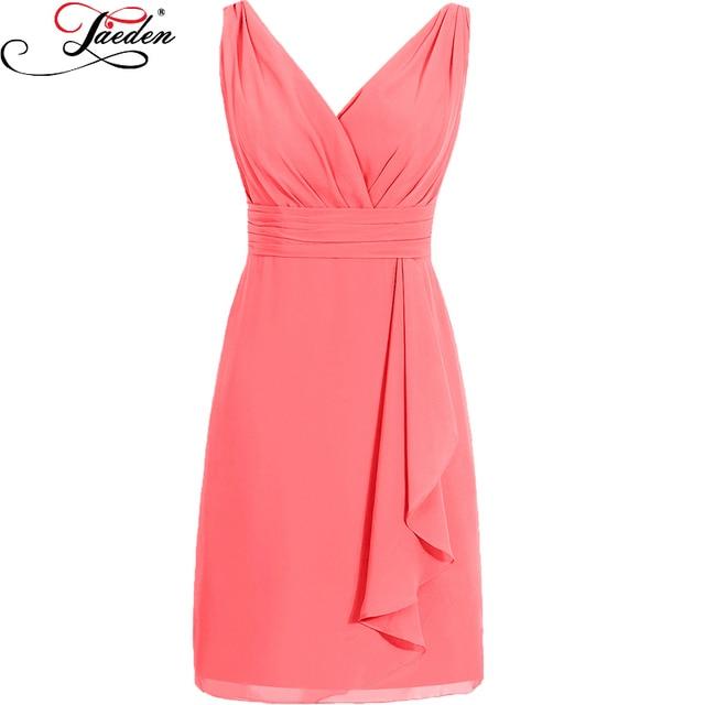 JAEDEN V Neck Sleeveless Chiffon Cocktail Dresses Side Draped Skirt Cascading Fuffle Lace up Back Cocktail Dresses 2016 S029