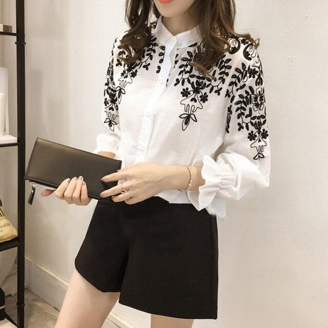1fcb3bfe4062 R$ 37.49 |Moda verão Bordado Blusa Camisa de Linho De Algodão Mulheres  Blusas Camisas Femininas Branco Preto Bordado Tops Vestuário Feminino em ...