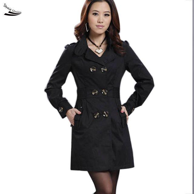 Nova Moda Das Mulheres Slim Fit Trench Coat Trespassado Exteriores