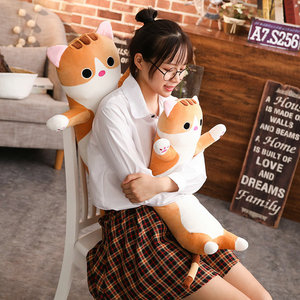 Image 3 - 1pc 65/90cm long Cat Pillow Plush toy soft cushion stuffed animal doll sleep Sofa Bedroom Decor Kawaii Lovely gifts for kids