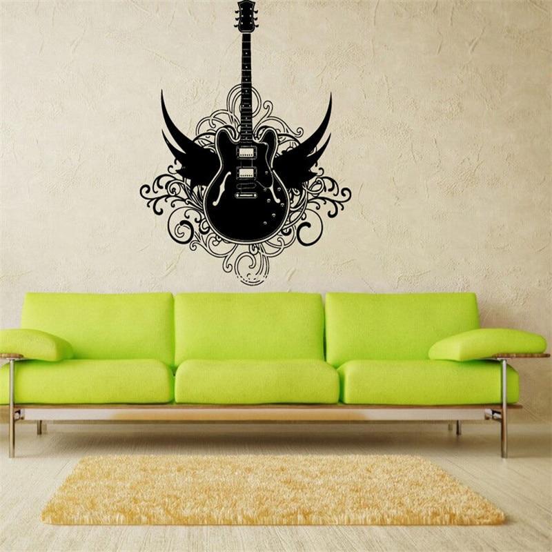 e149 design art rock angel wings rock guitar mural decor art wall stickers home decor for kids. Black Bedroom Furniture Sets. Home Design Ideas