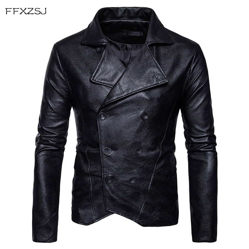 2018 Causal Leather Jackets Male Long Sleeve Winter Thick Pocket Mens PU British Style Hot Sale Brand Clothing European size