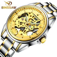 BINSSAW 2016 New Gold Watches Men Luxury Brand Stainless Steel Fashion Skeleton Automatic Mechanical Watches Relogio