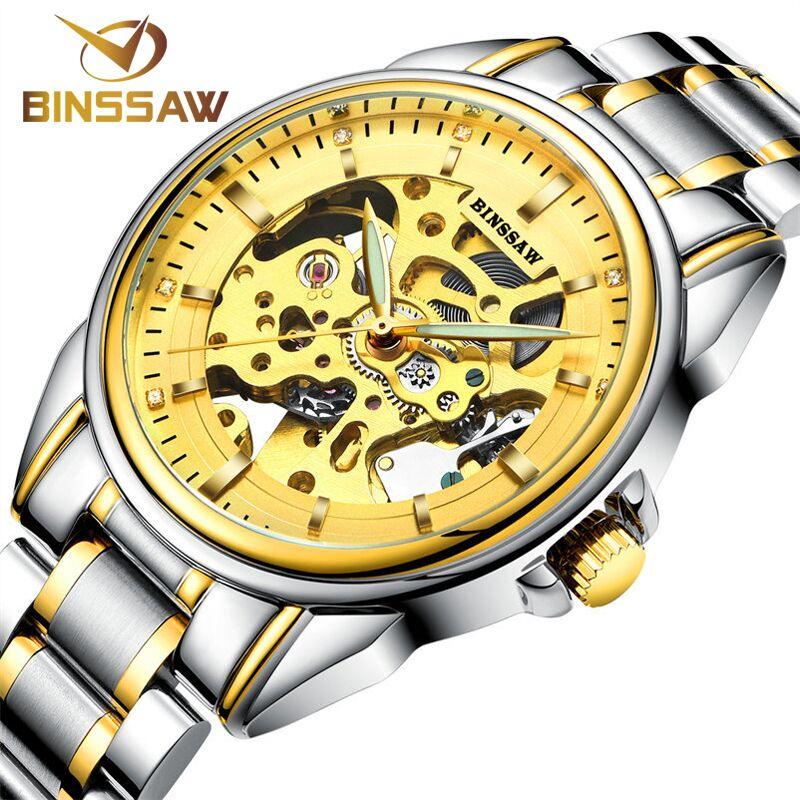 Binssaw 2017 золотые часы Для мужчин Роскошные Лидирующий бренд Нержавеющая сталь Мода Скелет автоматические механические часы Relógio masculino