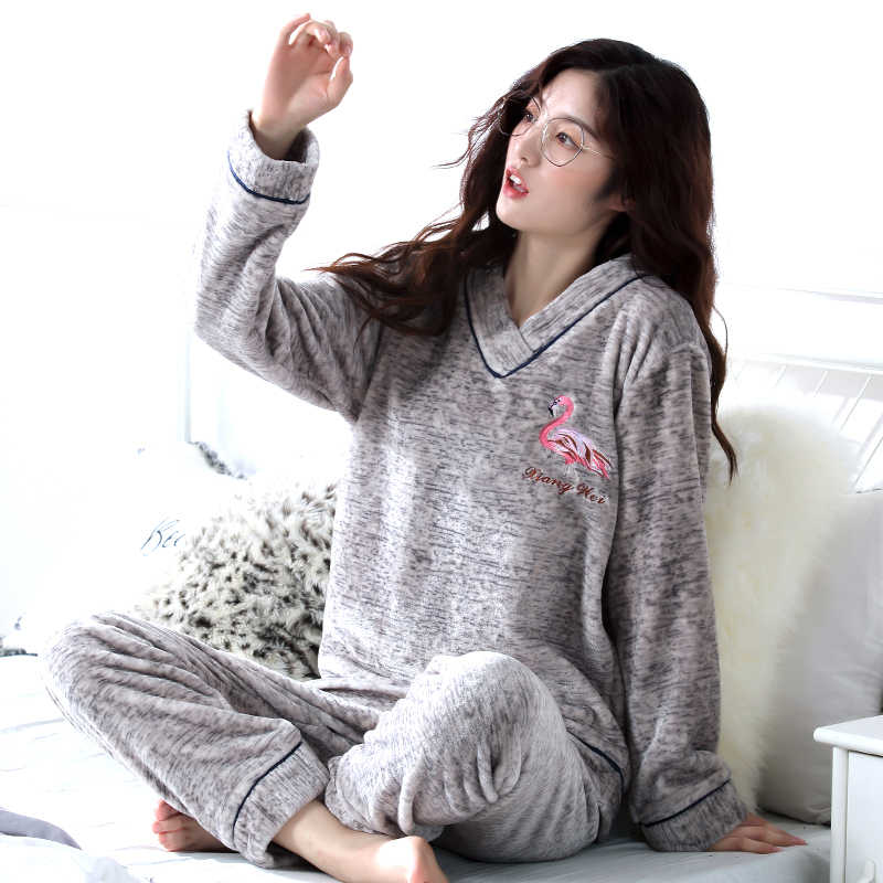 39e184a28 ... Thick Pyjamas Women Winter Warm Coral Fleece Women Pajamas Sets Soft  Coral Fleece Pajamas Female Winter ...