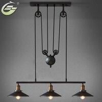 Vintage lampade a sospensione Ferro Puleggia Bar Lampada Della Decorazione Della Casa di E27 Edison Light Fixtures  Trasporto Libero
