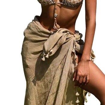 Women Swimwear Bikini Beach Wear Cover Up Swimsuit Wrap Irregurlar  Skirt Beach Skirts