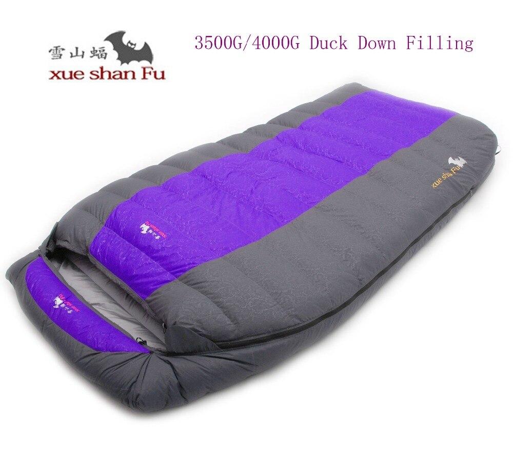 Di alta qualità a doppia persona 3500g/4000g anatra giù di riempimento confortevole sacco a pelo di campeggio