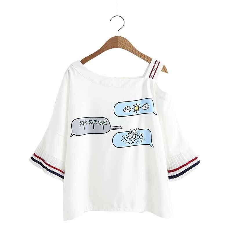 2018 נשים אופנה חדשה קיץ אבוקה שרוול הדפסת חולצה נשי מתוק מזדמן רופף בתוספת גודל טי חשוף כתף שיפון חולצות y379