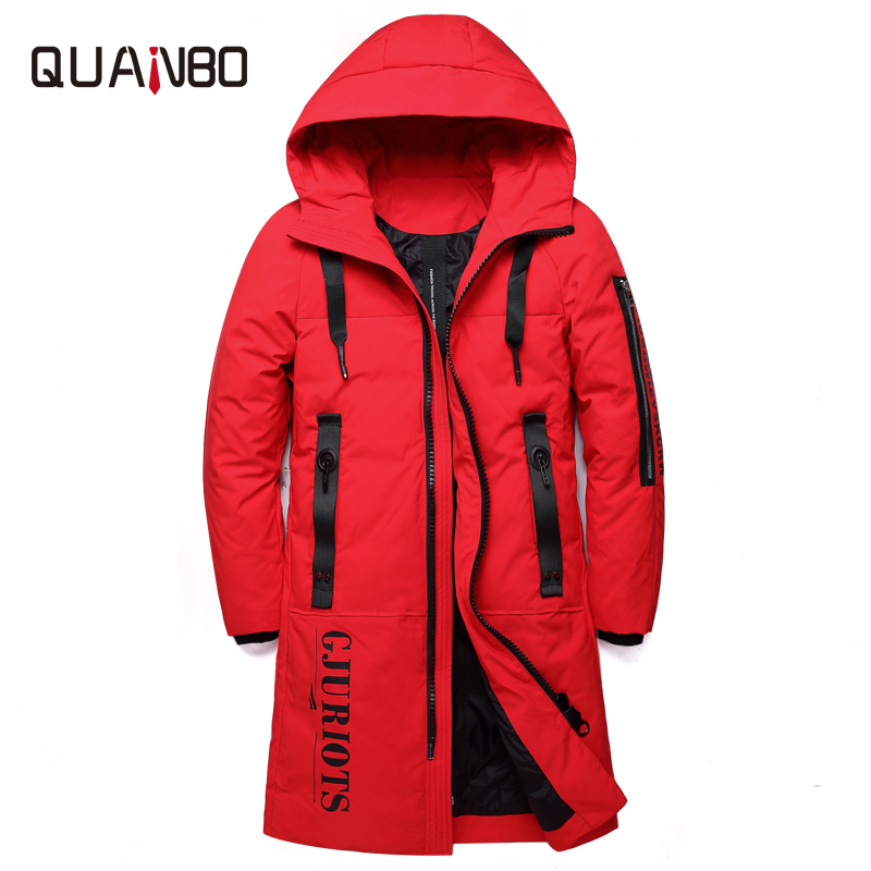44f5103ef4fef 2018 new men s clothing winter warm down jacket thick slim fit duck down  coat men s red black brand clothes large size 5XL