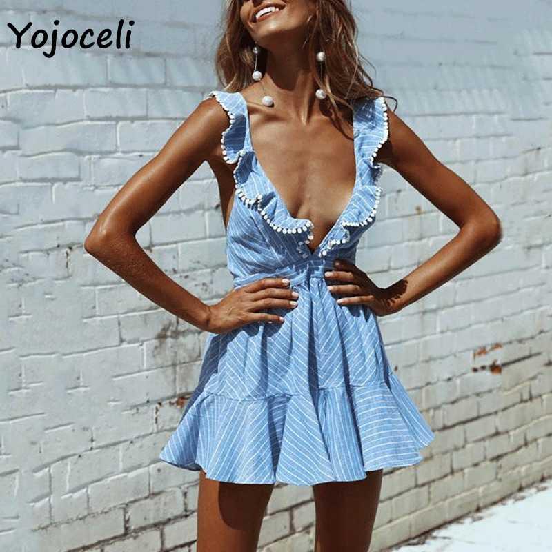 Yojoceli مثير الصيف مخطط اللباس النساء عميقة v الرقبة كشكش بوم بوم البسيطة اللباس شاطئ حزب اللباس