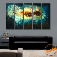 Abstract Oil Painting Handmade Canvas Oil Painting Abstract Clouds Wall Art Pictures Home Decorative Paintings 5pcs/set No Frame