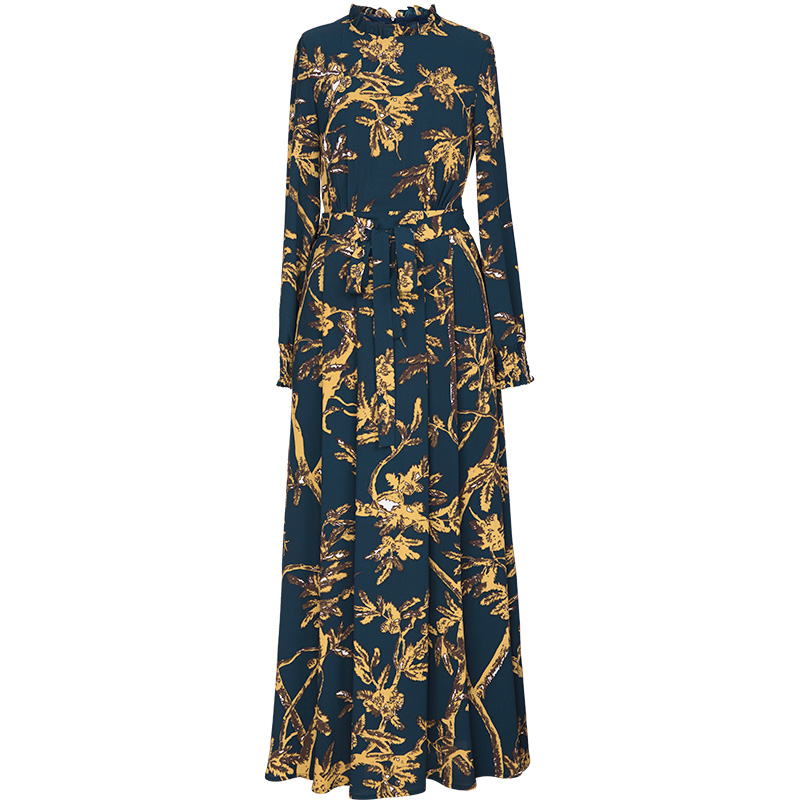 Più i Vestiti di Formato Vestiti 2019 Autunno Delle Donne di Stile Del Collare Increspato Fiore Giallo Stampa di Manica Pieno Elegante Lungo Maxi Del Vestito XXXL - 3