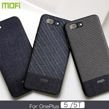 Oneplus 5 Case Mofi Oneplus 5T Case Cover Dark Color Gentleman Business Style Handcraft Fabric Cloth One Plus 5 5T Cross Grain