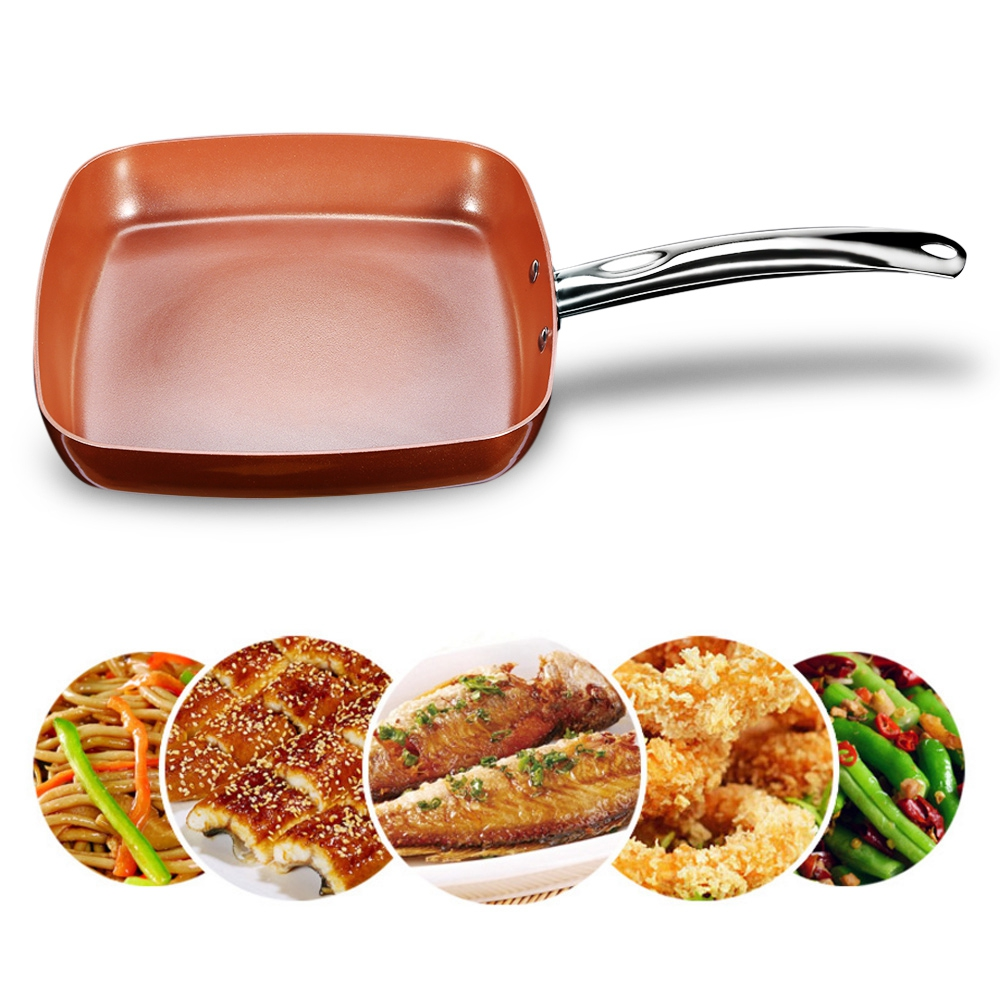 Non stick Copper Square Frying Pan Skillet with Ceramic Coating Oven Dishwasher Safe Kitchen Skillet Cookware Cooking Pans