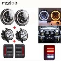 Marloo Halo 7 дюймов светодиодный фар DRL, JK светодиодный фонарь в сборе, wrangler 4 дюймов туман свет Combo для Jeep 2007 2015 2010 2011
