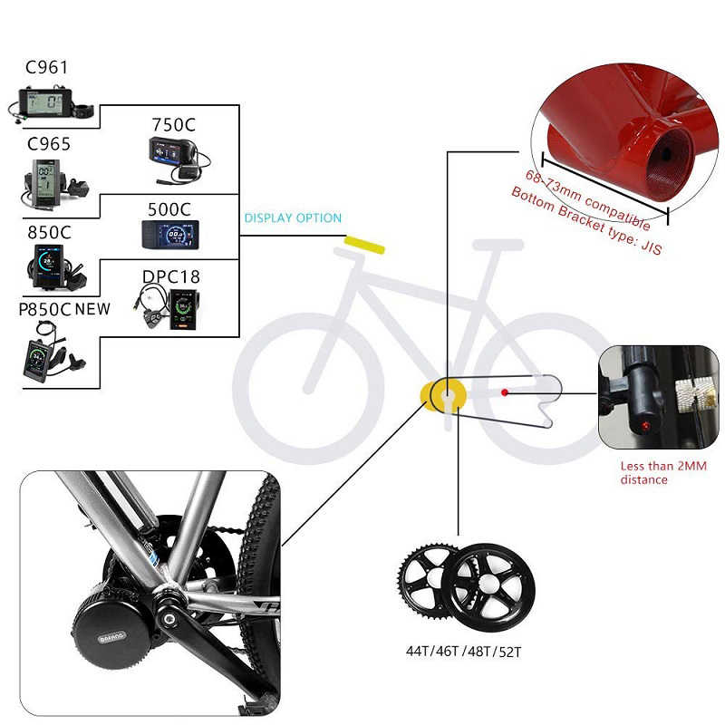 Bafang BBS01B 36V 250W Mid Drive Motor Kit E-bike 8fun Brushless Gear Middle Motor Electric Bicycle Conversion Kit LCD Display