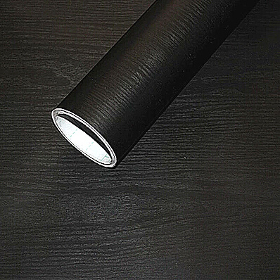 Black Gray Wood Grain Contact Wallpaper Self Adhesive Paper Countertop Kitchen