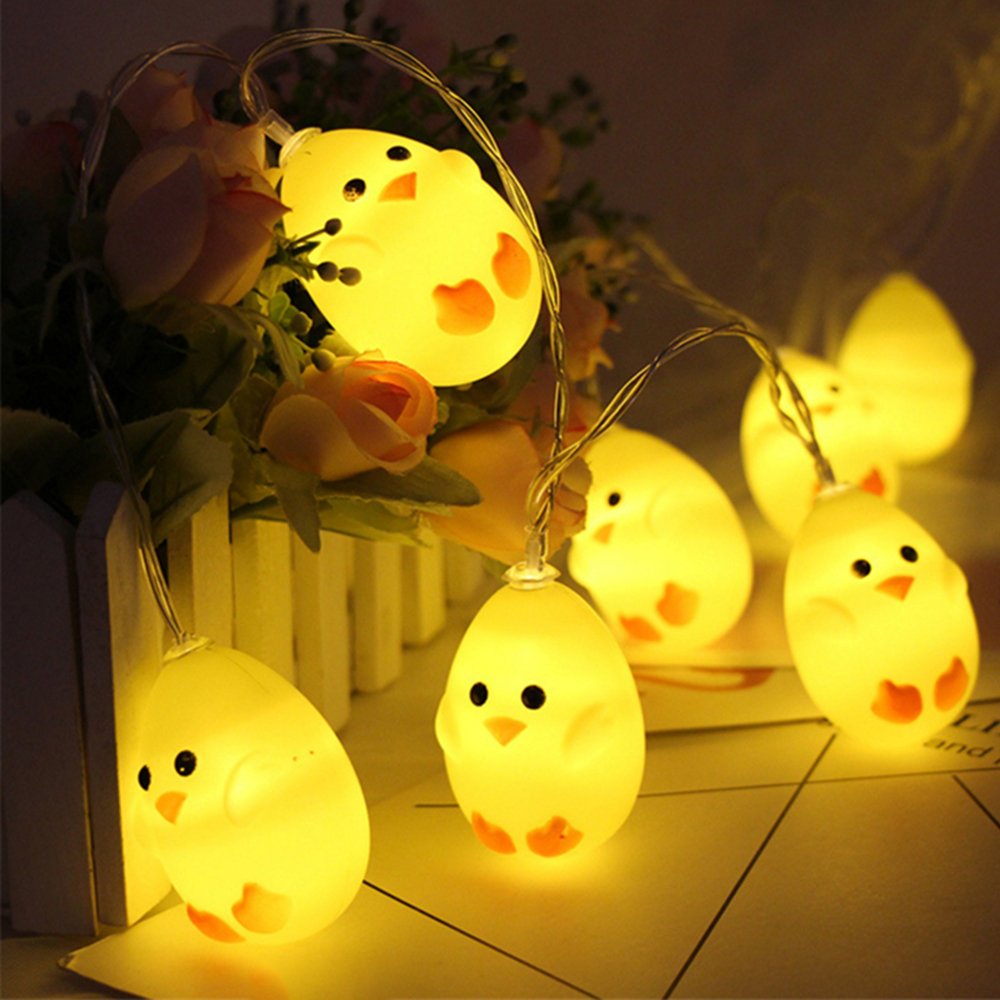 3M 20LEDs Easter Chicken Design String Light Outdoor Garland Waterproof Led Lamp Night Light Backyard Decor Easter Party Supply