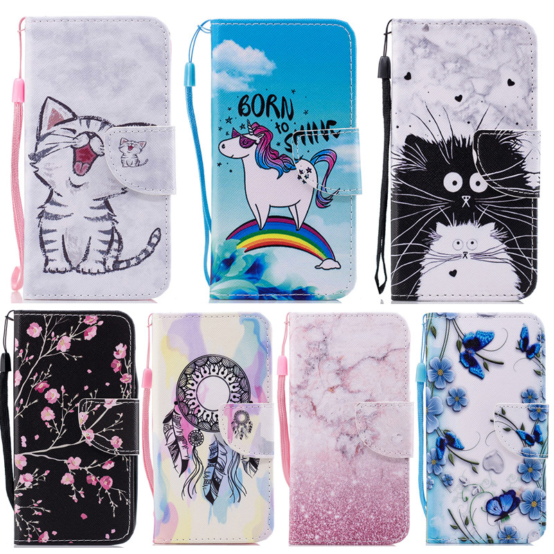 Wekays For <font><b>Samsung</b></font> A5 <font><b>A7</b></font> A8 <font><b>2018</b></font> A530F <font><b>Case</b></font> Cute Cartoon Flower Leather <font><b>Case</b></font> For <font><b>Samsung</b></font> Galaxy A8 Plus <font><b>2018</b></font> <font><b>A730F</b></font> Cover <font><b>Cases</b></font> image