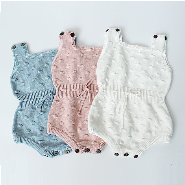 1a1c1631345 4pcs lot Baby Girls Knit Rompers Kids Solid Color Princess Boys Jumpsuit  Toddler Clothing