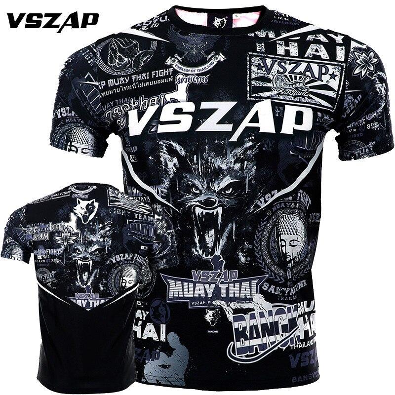 VSZAP Mma Muay Thai T Shirt Men Sport Jersey Anime Printed Short Sleeve Compression Tights Boxing Shirt Muaythai Sweatshirt