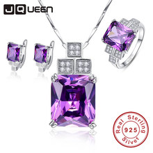 Fine Jewellry Women Wedding Accessories Bride Jewelry Set Geometric Amethyst Pendant Necklace with Stud Earrings & Silver Ring(China)