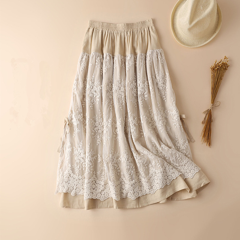 Japanese Mori Girl Lace Maxi Skirt Cotton Linen A line Ruffle Long Skirt