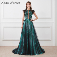 Long Elegant Evening Dresses For Woman 2018 Black And Green Evening Gowns Sheer Back Robe De