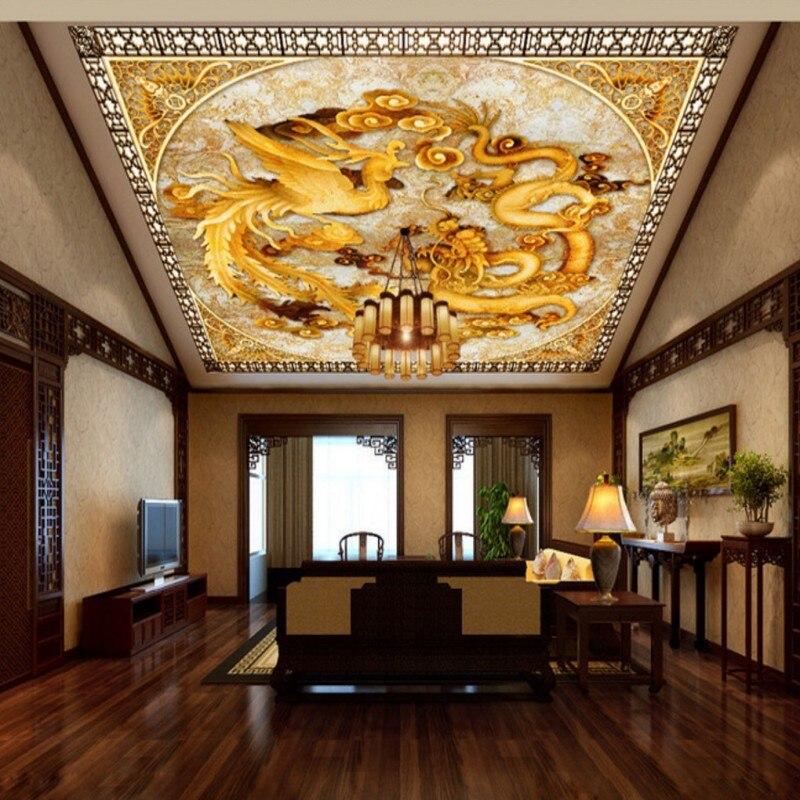3d Office Wallpaper Photo Wallpaper Custom Chinese Dragon Phoenix Hd Mural