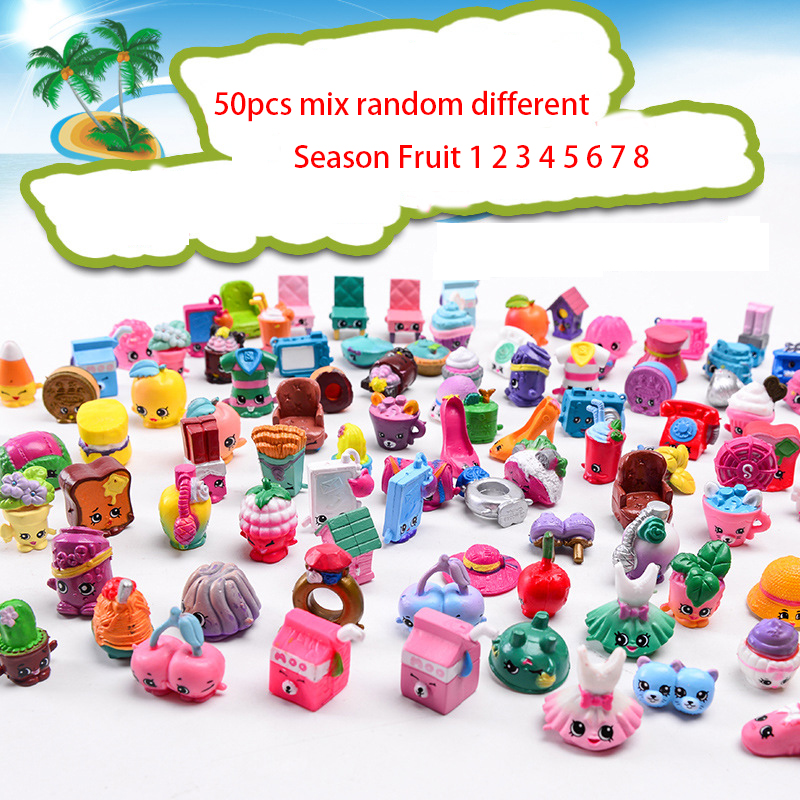Newest Heigh quality 50Pcs/lot Fruit Shop Action Toy Figures For Dolls Kids Christmas Gift Playing Candy Toys Season 1235678
