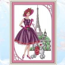 Joy Sunday,Paris Fashion,Cross Stitch Embroidery Set,Printed Set,Needlework,Portrait Cross embroidery patterns