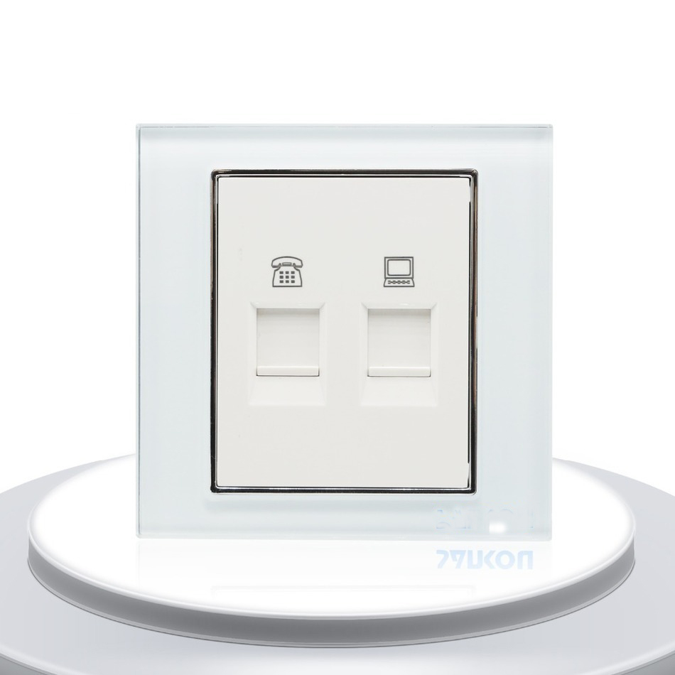 Telephone And Computer Sockets White Crystal Glass Panel 2 Gang Uxcell Waved Plastic Handle Pcb Circuit Board Anti Static Brush Black Wall Socket Plug
