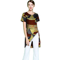 African Ladies Individual Asymmetrical Design Dashiki Clothes Custom Made Women Vintage Multi Colored Print Africa T