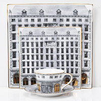 Classical Gold Swan Castle Decorative Bone China Cup and Saucers Plate Retro Building Snack Tray Fornasetti Style Hanging Plate