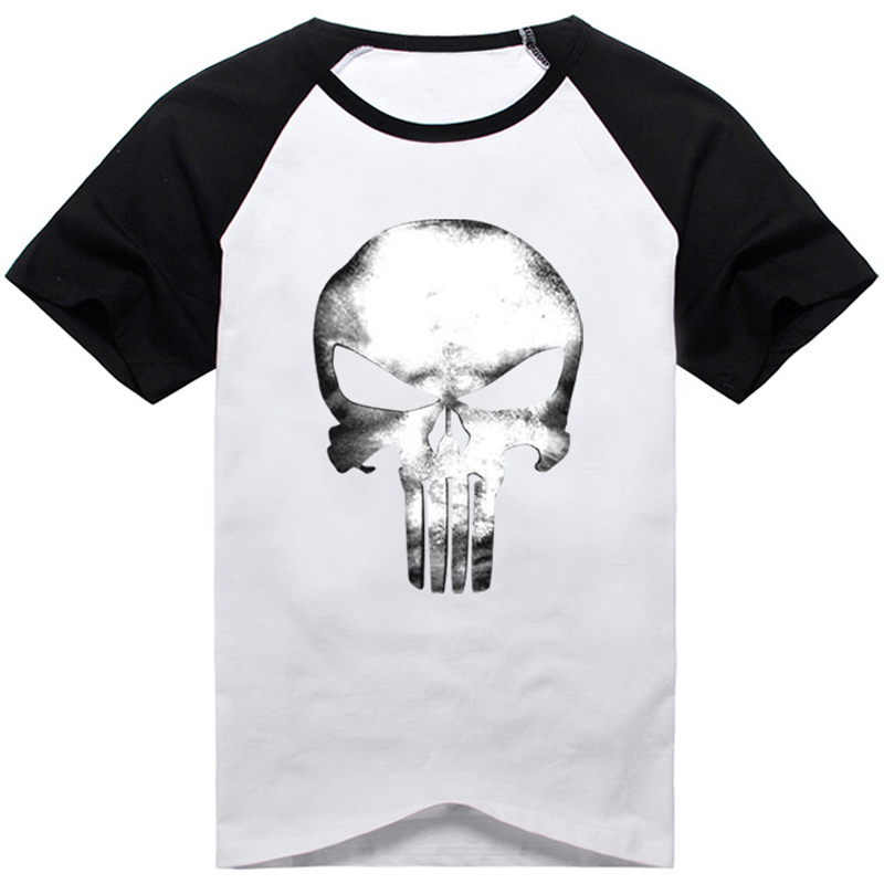 Anti-hero Punisher Frank Castle Skull Printed Short Sleeve T-shirt Cosplay Costume Summer Fashion Daily Casual Cotton Tee Shorts