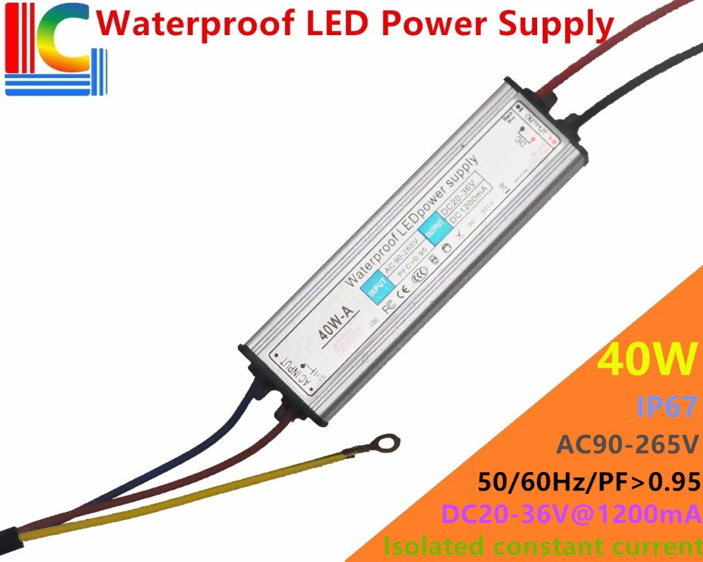40W 1200mA IP67 étanche alimentation 30V à 36V LED pilote adaptateur 110V 220V projecteur réverbère éclairage transformateur CE
