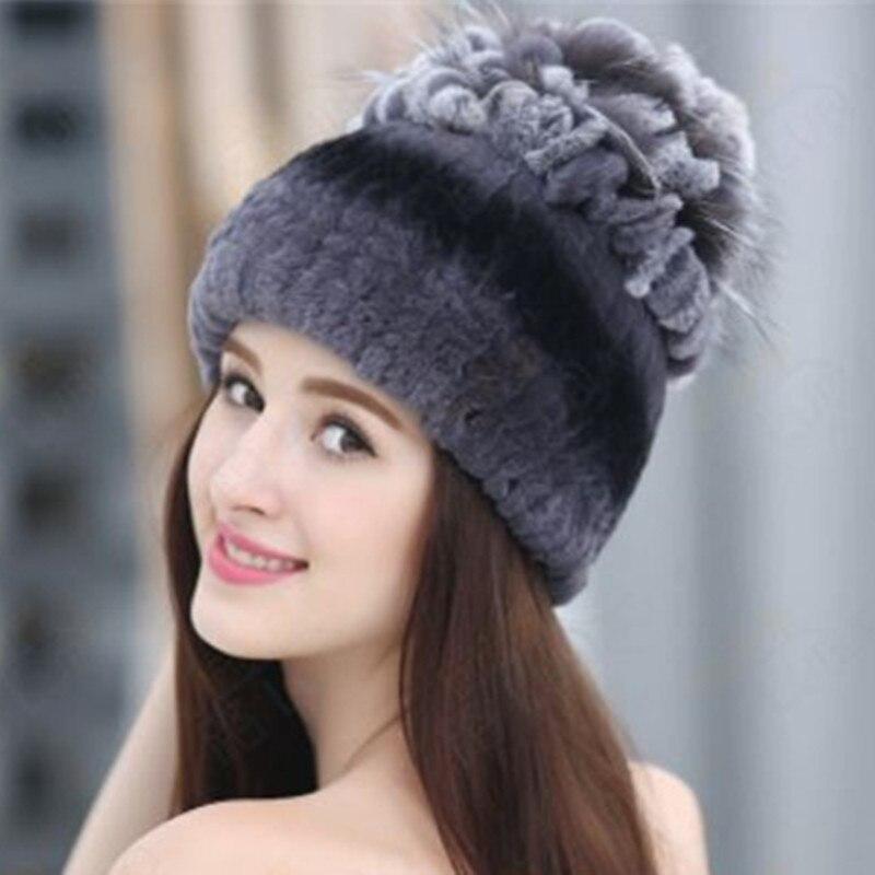 Sale 2016 winter beanies fur hat for women knitted rex rabbit fur hat with fox fur flower top free size casual women's hat