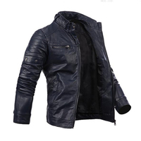Men's Cool Multi Pocket Slim Zip Coat Faux Leather Motorcycle Biker Jacket